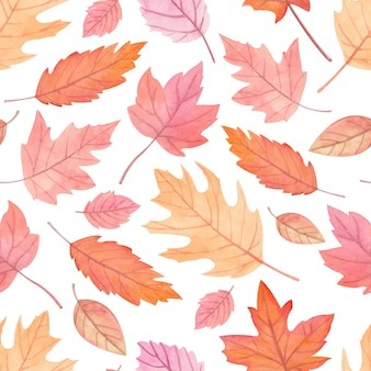 Seamless watercolor pattern with autumn leaves