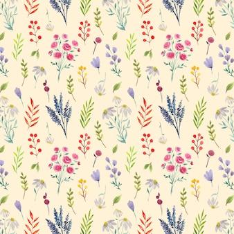 아름다운 꽃과 잎이 있는 원활한 수채화 패턴