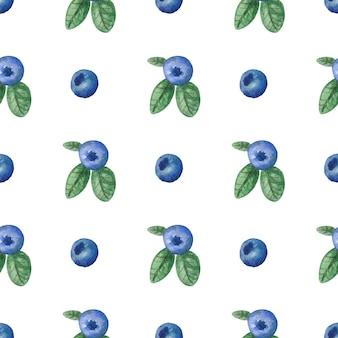 ブルーベリーと葉とのシームレスな水彩パターン
