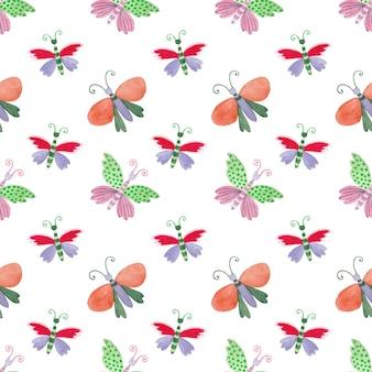 明るくカラフルな蝶とのシームレスな水彩パターン