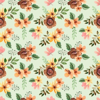 Seamless watercolor pattern with brown blooms and green leaves for spring