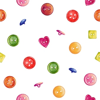 Seamless watercolor pattern with buttons