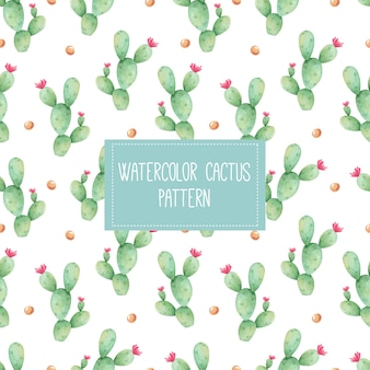 Seamless watercolor pattern with cacti