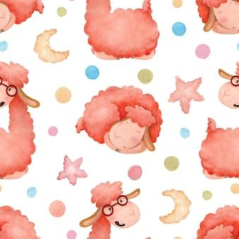 만화 알파카와 다채로운 완두콩 원활한 수채화 패턴