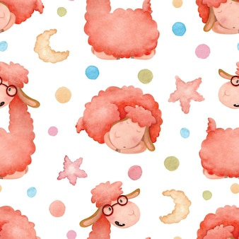 Seamless watercolor pattern with cartoon alpaca and colorful peas