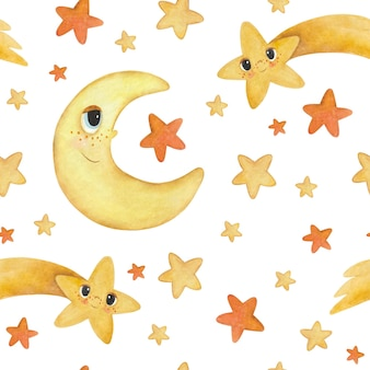 漫画の月、星、彗星とのシームレスな水彩パターン