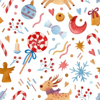 Seamless watercolor pattern with christmas candies toys and stars