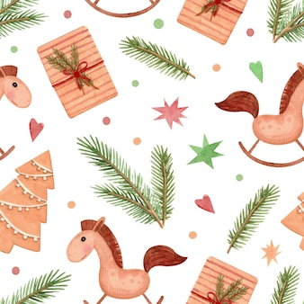 Seamless watercolor pattern with christmas gifts horses and fir branches