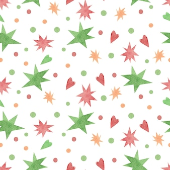 Seamless watercolor pattern with christmas stars and confetti