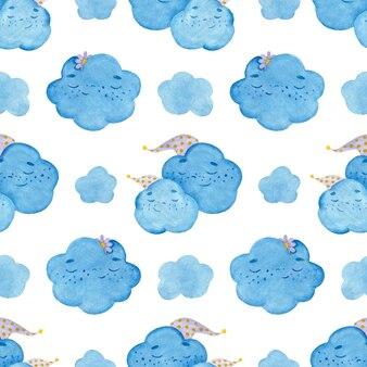 キャップのカラフルな漫画の眠っている雲とのシームレスな水彩パターン