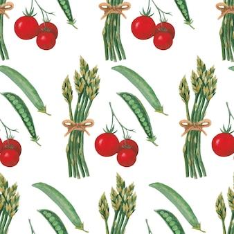 カラフルな野菜、トマト、エンドウ豆、アスパラガスとのシームレスな水彩パターン