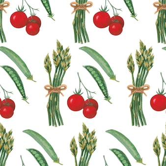 Seamless watercolor pattern with colorful vegetables tomatoes peas and asparagus