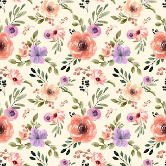 Seamless watercolor pattern with cream pastel florals and yellow background