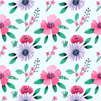 Seamless watercolor pattern with cute pink flower and blue background