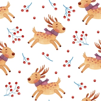 Seamless watercolor pattern with deer and berries