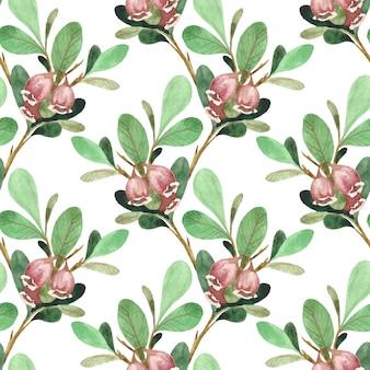 Бесшовный акварельный образец с нежными розовыми цветами на ветках