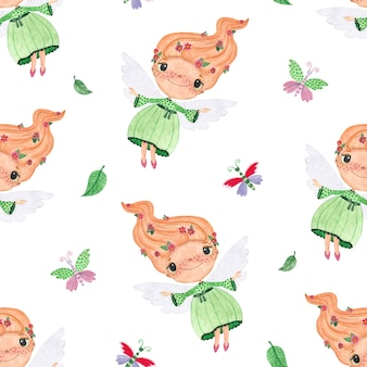 Seamless watercolor pattern with fairies butterflies and leaves