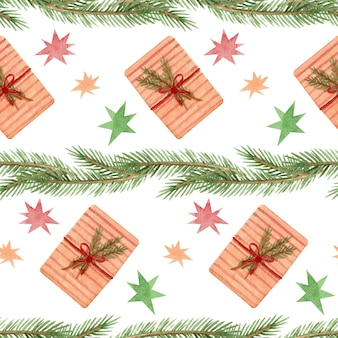 Seamless watercolor pattern with fir branches and gifts