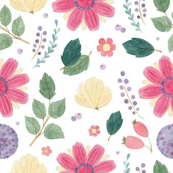 白い背景の上に花とベリーとのシームレスな水彩パターン