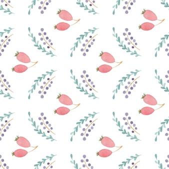 白い背景に花とシームレスな水彩パターン