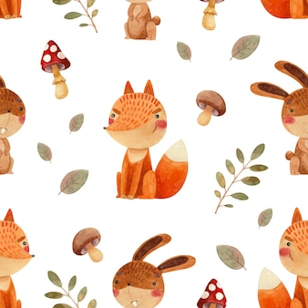 Seamless watercolor pattern with forest animals bunny and fox