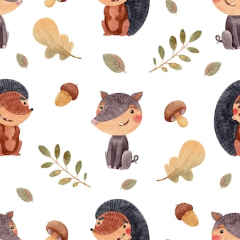 Seamless watercolor pattern with forest animals wild boar and hedgehog