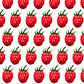 Seamless watercolor pattern with funny raspberries on the white background, aquarelle.  illustration. hand-drawn background. useful for invitations, scrapbooking, .