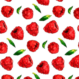 Seamless watercolor pattern with hand drawn raspberries