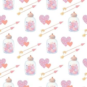 Seamless watercolor pattern with hearts and arrows for valentine's day