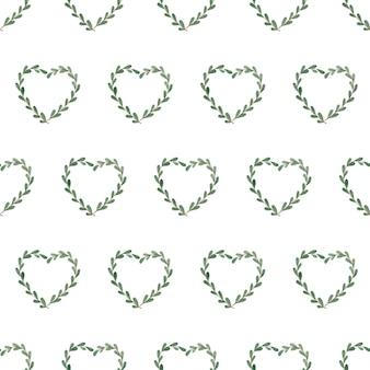 小枝の心とシームレスな水彩パターン