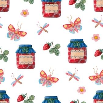 ジャム蝶とイチゴとのシームレスな水彩パターン