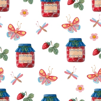 Seamless watercolor pattern with jam butterflies and strawberries