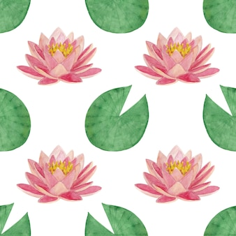 Seamless watercolor pattern with lotus leaves and flowers