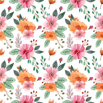 オレンジと赤の花とのシームレスな水彩パターン
