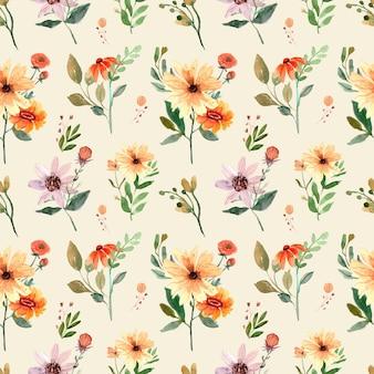 주황색 야생화와 잎 원활한 수채화 패턴