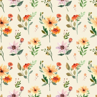 Seamless watercolor pattern with orange wildflowers and leaves