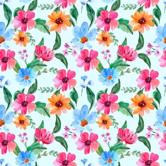 Бесшовный акварельный образец с розовыми и синими цветками
