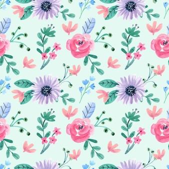 ピンクと紫の花と葉とのシームレスな水彩パターン