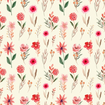 ピンクと赤い野花とのシームレスな水彩パターン