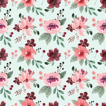 ピンクの花と緑の背景とシームレスな水彩パターン