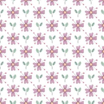 Бесшовный акварельный образец с розовым цветком и листьями