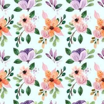 핑크 장미와 모란 원활한 수채화 패턴