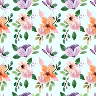 Seamless watercolor pattern with pink roses and peonies