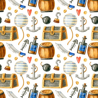 Seamless watercolor pattern with pirate elements