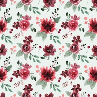 赤栗色の牡丹とバラとのシームレスな水彩パターン