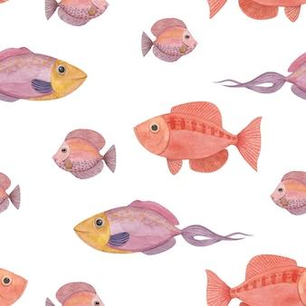 赤魚とのシームレスな水彩パターン
