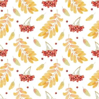 Бесшовный акварельный образец с листьями и ягодами рябины