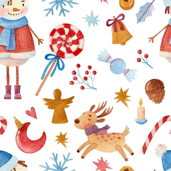 Seamless watercolor pattern with snowman and christmas attributes