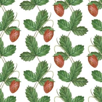 イチゴの果実と葉とのシームレスな水彩パターン