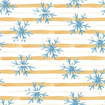 Seamless watercolor pattern with stripes and snowflakes